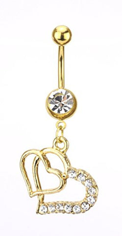 Clear Stone Double Heart Charm Surgical Steel Belly Ring in Gold-Tone