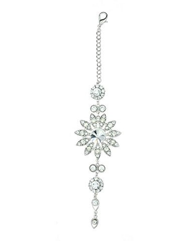 Clear Rhinestone Floral Designed Back Chain Necklace in Silver-Tone
