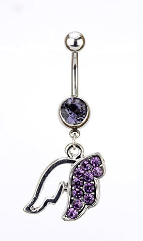 Purple Stone Pave Angel Wing Charm Surgical Steel Belly Ring in Silver-Tone