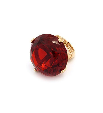 Extra Big Red Rhinestone Stretch Ring in Gold-Tone