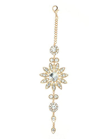 Clear Rhinestone Floral Designed Back Chain Necklace in Gold-Tone