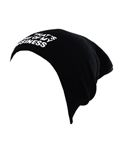 But That's None Of My Business Patched Logo Unisex Black Slouch Warm Knit Beanie