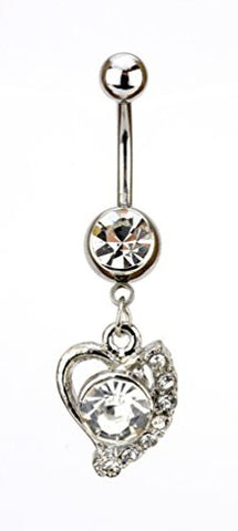 Clear Rhinestone Stud Heart Charm Surgical Steel Belly Ring In Silver Tone