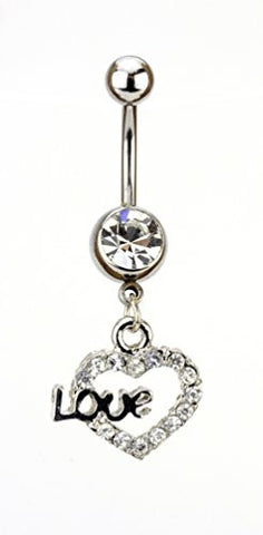 Clear Rhinestone Love Heart Charm Surgical Steel Belly Ring in Silver-Tone