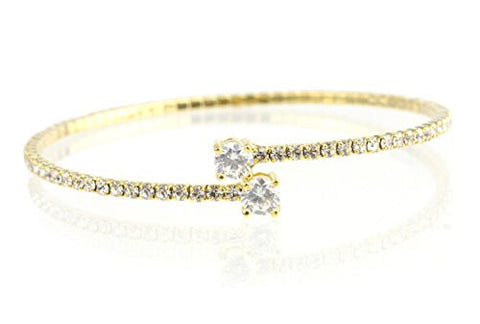 Swarovski Elements Flex Bracelet with Round-Cut Stone Tips - Gold-Tone MADE IN KOREA IKB1005G