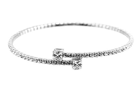 Swarovski Elements Flex Bracelet with Princess-Cut Stone Tips - Silver-Tone MADE IN KOREA IKB1007R