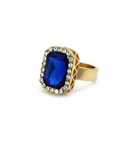 Rhinestone Studded Faux Sapphire Stone Pendant Hip Hop Fashion Ring Size 8 in Gold-Tone