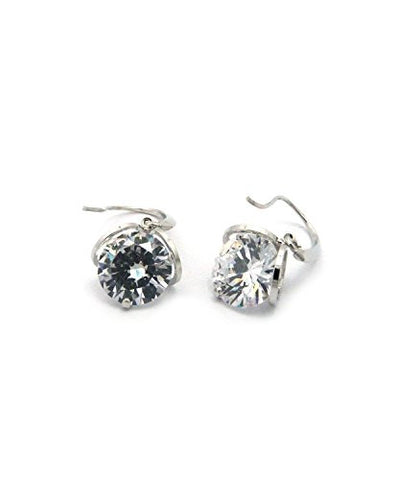 Women's 12mm Round Cut Clear Cubic Zirconia Dangling Hook Earrings in Silver-Tone