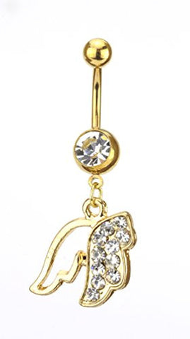 Clear Stone Pave Angel Wing Charm Surgical Steel Belly Ring in Gold-Tone