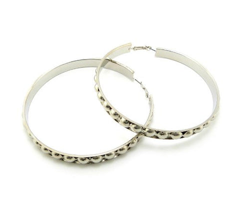 Carved Ball Silver Tone Hoop Earrings CE1026RD