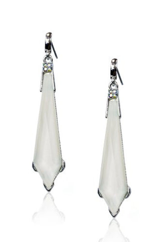 New Silver Tone White Epoxy Faceted Colored Stone Sword Ladies Drop Earring Set DVE7385RWT