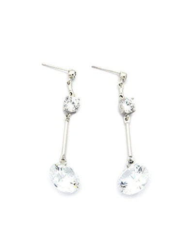 Women's Clear Cut Cubic Zirconia Dangling Pierced Earrings in Silver-Tone