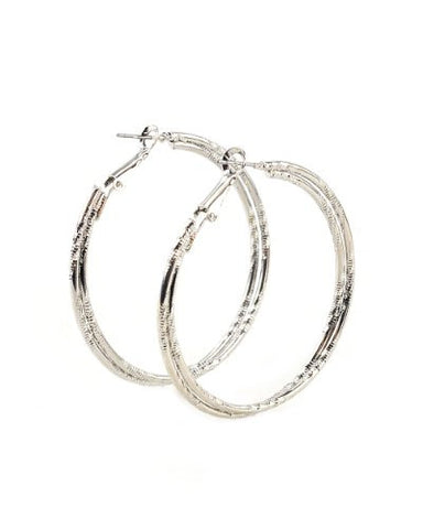 High Quality Hypo-Allergenic 50mm Double Ridge Ring Hoop Earrings in Silver-Tone MADE IN USA-S