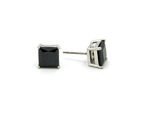 9mm Princess Cut Jet Cubic Zirconia 4-Prong Stud Earrings in Silver-Tone CZQ-RBK9