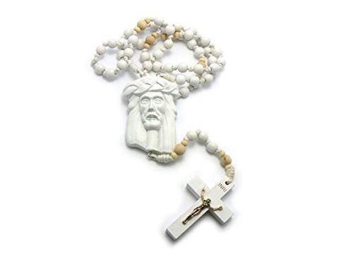 Jesus Face and Crucifix Cross Pendant Wood Rosary Necklace