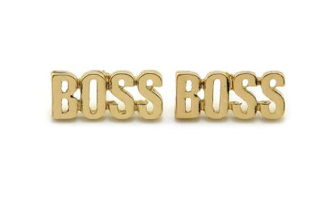 Plain BOSS Stud Earrings in Gold-Tone