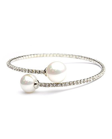 Clear Swarovski Elements Faux Pearl Tips Flex Cuff Bracelet in Silver-Tone MADE IN KOREA IKB1004R