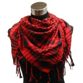 "Houndstooth Square Shawl (40""x40""), Red Black"