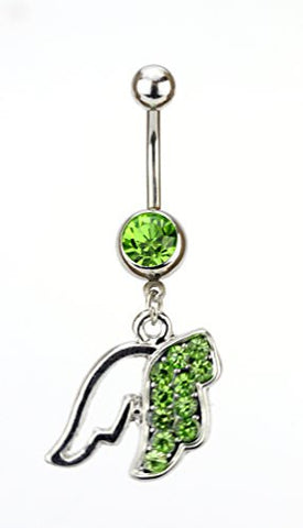 Lime Green Stone Pave Angel Wing Charm Surgical Steel Belly Ring in Silver-Tone