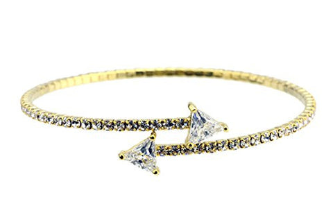 Swarovski Elements Flex Bracelet with Trillion-Cut Stone Tips - Gold-Tone MADE IN KOREA IKB1008G