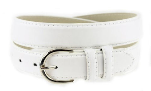 Nyfashion101 Women's Basic Leather Dressy Belt w/ Round Buckle H001-White-M