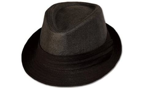 Mens Crushable Straypaper Fedora Hat with Band Black F1430-Small/Medium