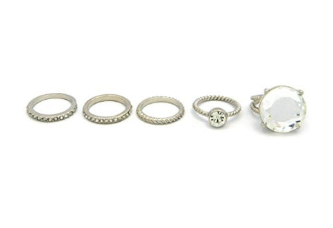 5 Piece Simple Thin Multi-Style Midi Ring Set with Big Rhinestone Accent Piece