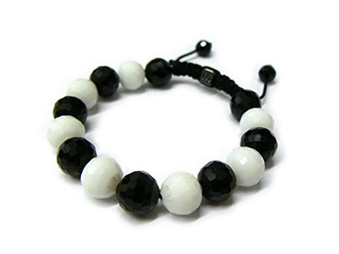Black and White Disco Ball Glass Bead Adjustable Bracelet