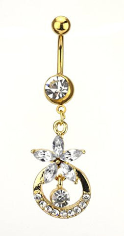 Clear Stone Flower Bell Charm Surgical Steel Belly Ring in Gold-Tone