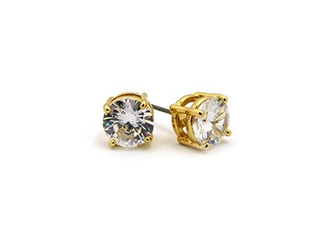 9mm Round Cut Clear Cubic Zirconia 4-Prong Stud Earrings in Gold-Tone CZR-G9