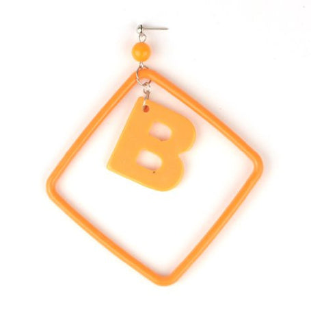 Initial Letter B Dangling Charm Orange Acrylic Drop Earrings
