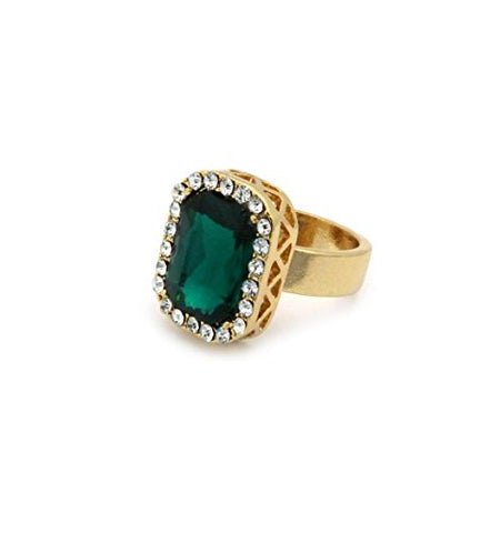 Rhinestone Studded Faux Emerald Stone Pendant Hip Hop Fashion Ring Size 8 in Gold-Tone