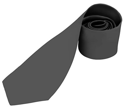 Mens Necktie SOLID Satin Neck Tie Charcoal Gray 90