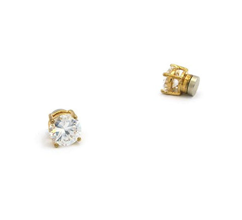 Round Cut Clear Cubic Zirconia 4-Prong Magnetic Stud Earrings