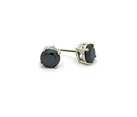 9mm Round Cut Jet Cubic Zirconia 4-Prong Stud Earrings in Silver-Tone CZR-RBK9