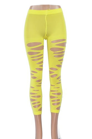NYfashion101 Unique Yellow Multi Hole Ladies' Stretch Fashion Tights LG-525-01 YELLOW