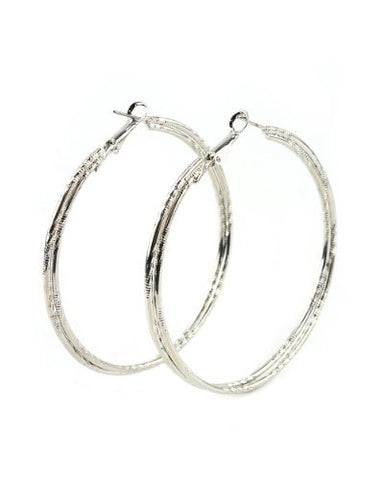High Quality Hypo-Allergenic 60mm Double Ridge Ring Hoop Earrings in Silver-Tone MADE IN USA-S
