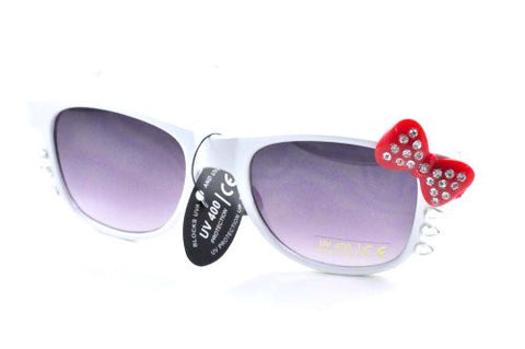 Womens Retro Fashion Kitty Sunglasses w/ Rhinestone Bow and Whiskers White