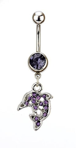 Purple Rhinestone Dolphin Charm Surgical Steel Belly Ring in Silver-Tone