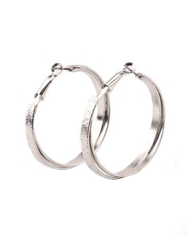 High Quality Hypo-Allergenic Wide Criss-Cross 40mm Hoop Earrings in Silver-Tone MADE IN USA