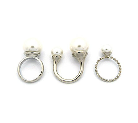 3 Piece White Faux Pearl Accent Fashion Ring Set