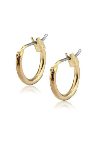 "Hypo-Allergenic 0.40"" (10mm) Simple Plain Hoop Earrings in Gold-Tone"