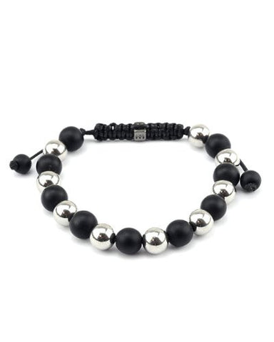 Matte Black & Silver Tone Metal Bead Adjustable Bracelet MB207
