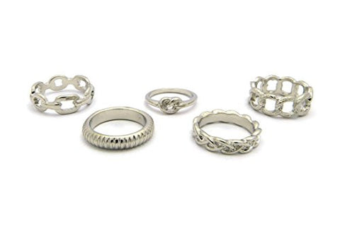 5 Piece Multi-Style Midi Ring Set