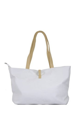 Ladies' Simple Classic Faux Leather Tote Shoulder Handbag w/ Attached Coin Pouch IVORY