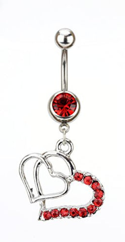 Red Stone Double Heart Charm Surgical Steel Belly Ring in Silver-Tone