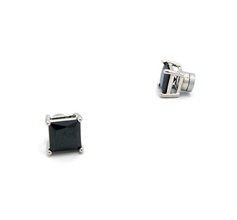 9mm Princess Cut Jet Cubic Zirconia 4-Prong Magnetic Stud Earrings in Silver-Tone CZQM-RBK9