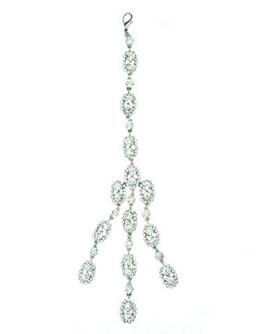 Clear Rhinestone Triple Stand Dangle Back Chain Necklace in Silver-Tone