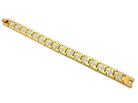 Cross Pattern Watch Band Style Link Bracelet