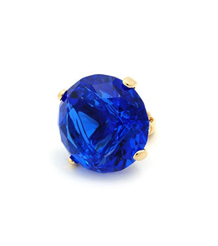 Extra Big Blue Rhinestone Stretch Ring in Gold-Tone